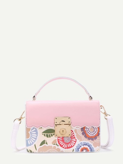 Calico Print PU Shoulder Bag With Handle