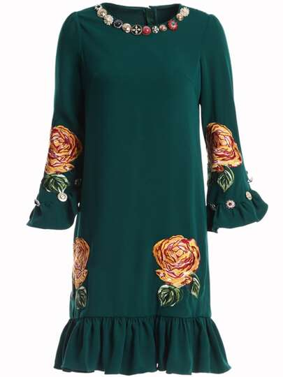 Bell Sleeve Flowers Applique Pouf Dress