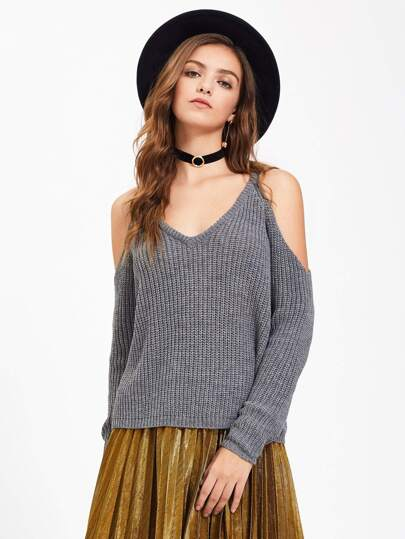Open Shoulder Deep V Neck Jumper