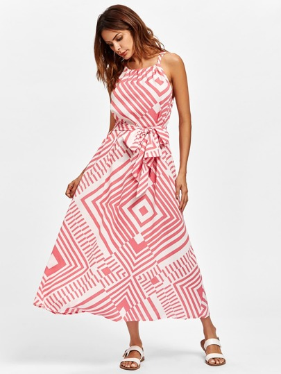 Geo Print Self Tie Cami Dress