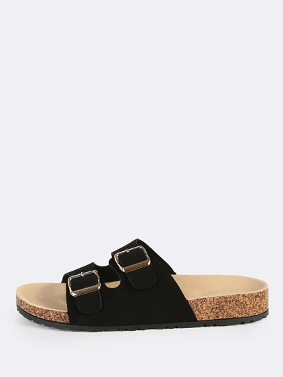 Double Buckle Nubuck Slip Ons BLACK