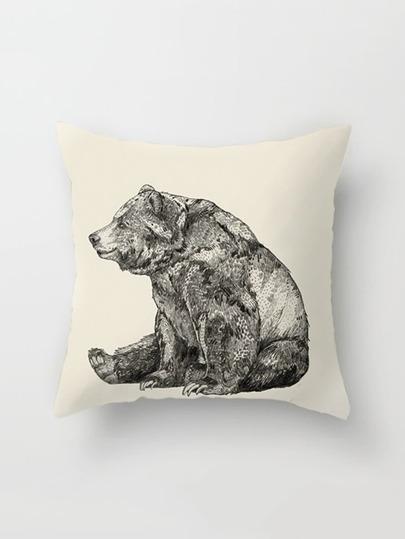 Funda de almohada con estampado de bosquejo de oso