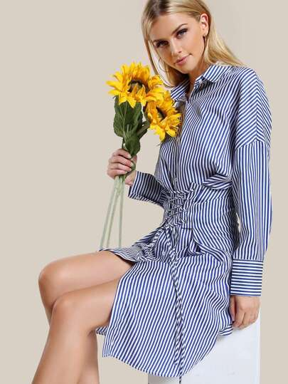 Lace Up Striped Button Up Dress NAVY