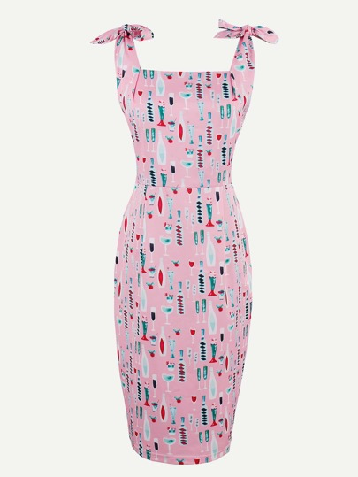 Allover Print Tie-Strap Slim Dress