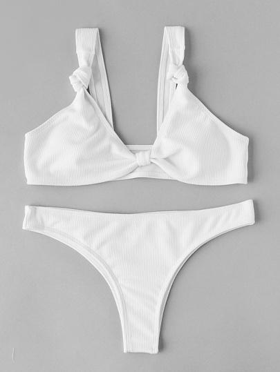 Ensemble de bikini côtelé avec nœud