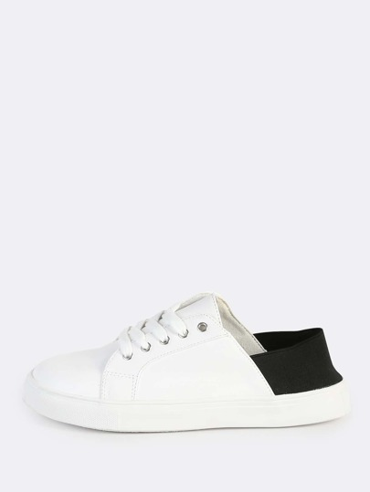 Leather Lace Up Elastic Sneakers WHITE