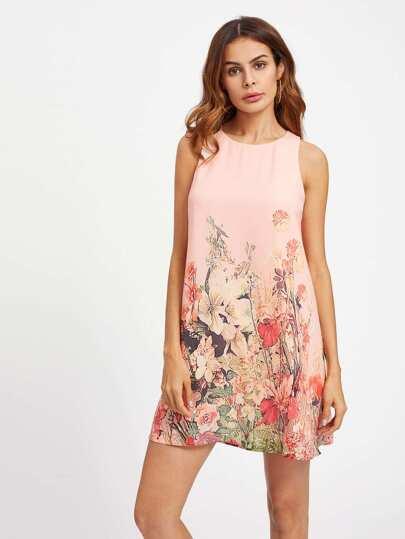 Kleid mit Knöpfen, Schlussloch und Pflanzen