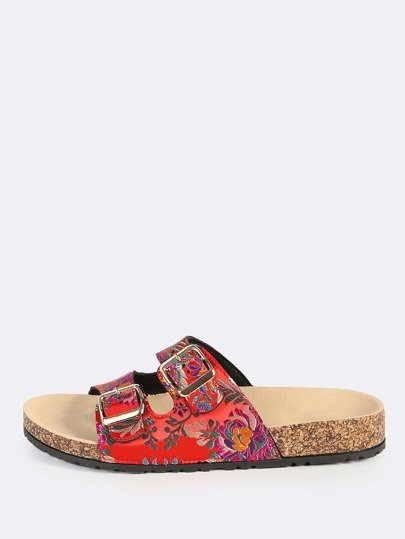 Oriental Double Buckle Slides RED