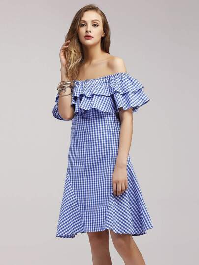 Tiered Flounce Layered Neckline Gingham Dress