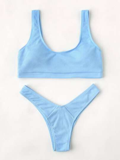 High Leg Scoop Neck Bikini Set