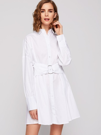 Drop Shoulder O-Ring Belt Detail Shirt Dress
