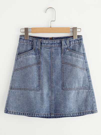 Cloud Wash Patch Pocket Zip Back Denim Skirt