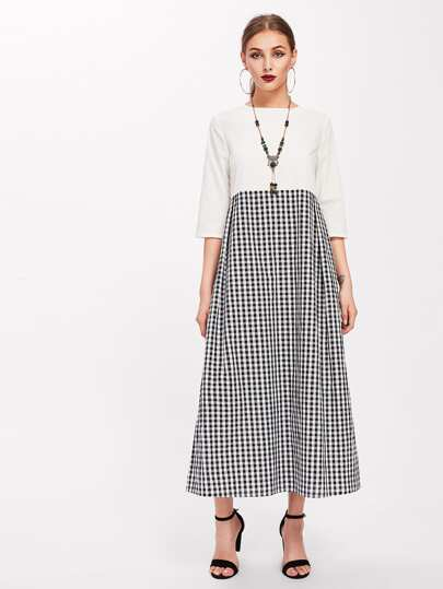 Cut And Sew Pleated Gingham Kaftan Dress