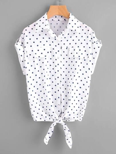 Модная рубашка в горошек