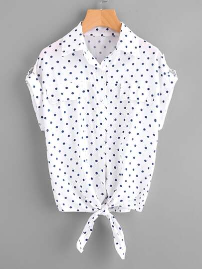 Rolled Sleeve Knotted Hem Polka Dot Shirt