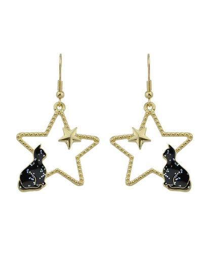 Black Color Cat Guardian Pearl Hollow Star Earrings
