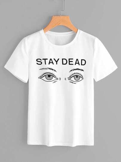 Tee-shirt imprimé du slogan et des yeux