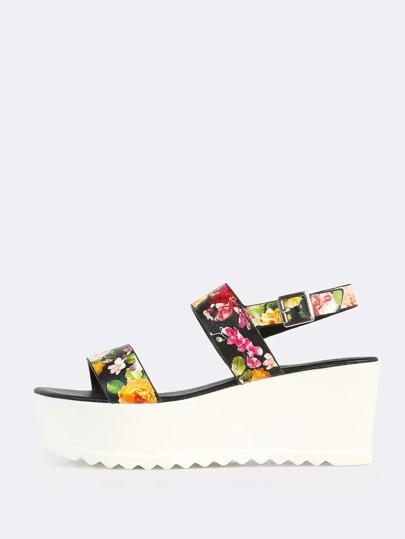 Floral Print Flatform Sandals BLACK