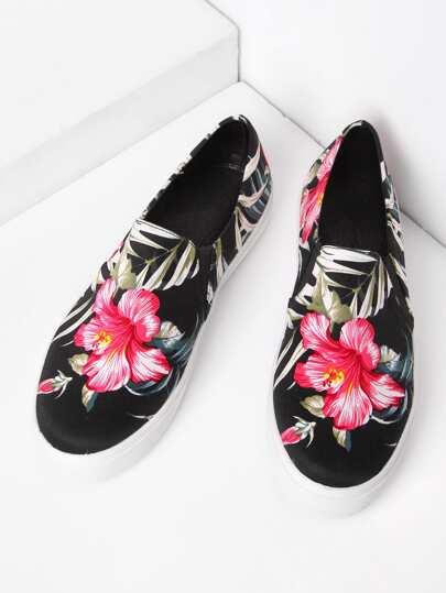 Zapatillas de lona con estampado de selva sin cierre