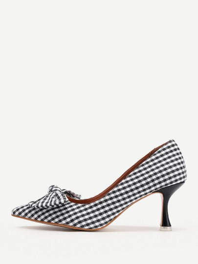 Bow Tie Detail Gingham Stiletto Heels