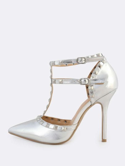 Metallic Stud Closed Toe Pumps SILVER