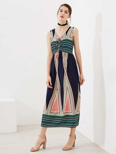 Aztec Print Beaded Tie Neck Dress
