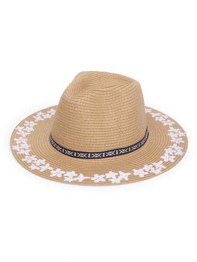Flower Print Straw Fedora Hat