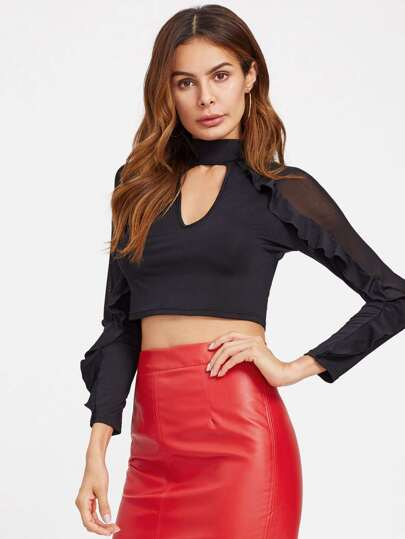 Choker Neck Mesh Panel Frilled Top