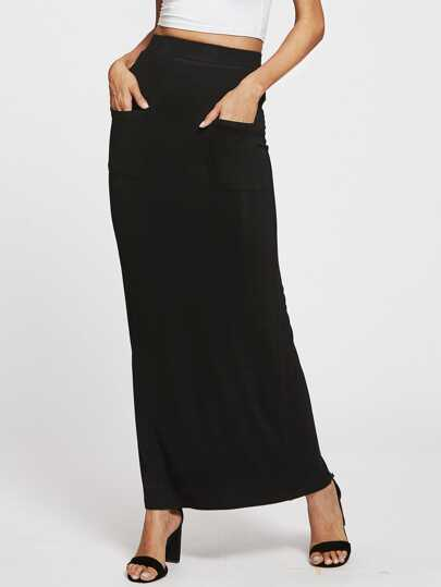 Pockets Front Sheath Skirt