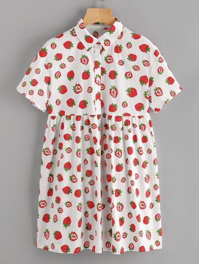 Allover Strawberry Print Half Placket Babydoll Dress