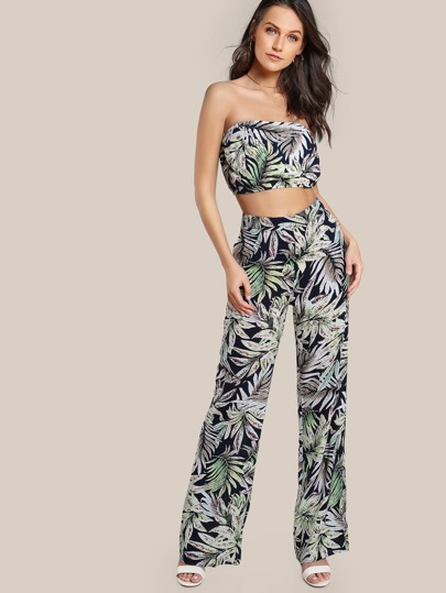 Tropical Print Bandeau & Matching Pants Set TROPICAL