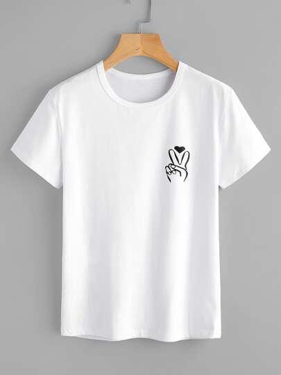 Tee-shirt imprimé du geste