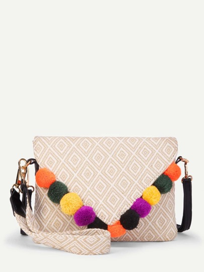 Geometric Print Flap Bag With Pom Pom