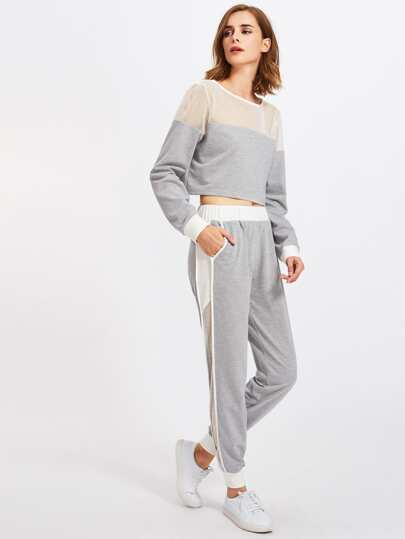 Fishnet Insert Heather Knit Sweatshirt And Pants Set