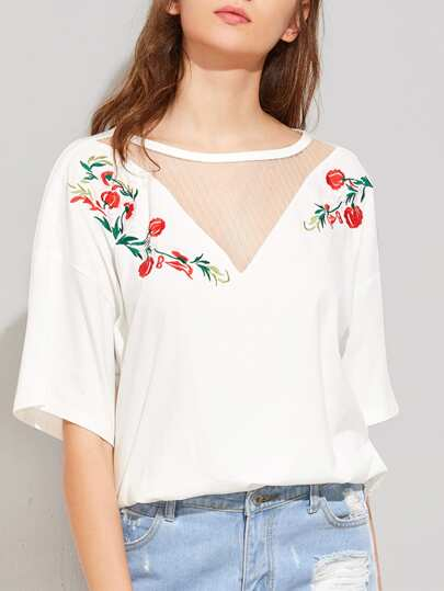 Mesh Insert Flower Embroidered Tee