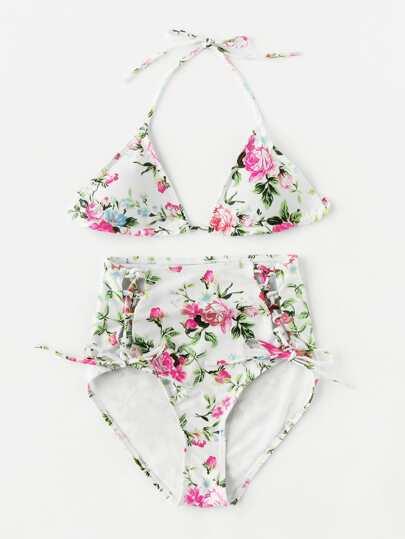 Ensemble de bikini taille haute imprimé à lacets
