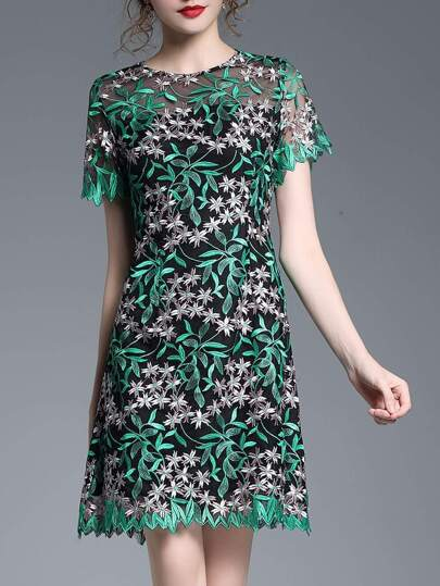 Gauze Leaves Embroidered Dress