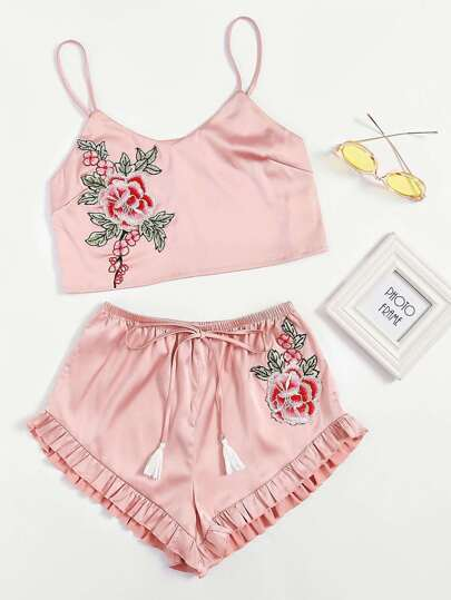 Embroidered Flower Patch Cami & Ruffle Shorts Pajama Set