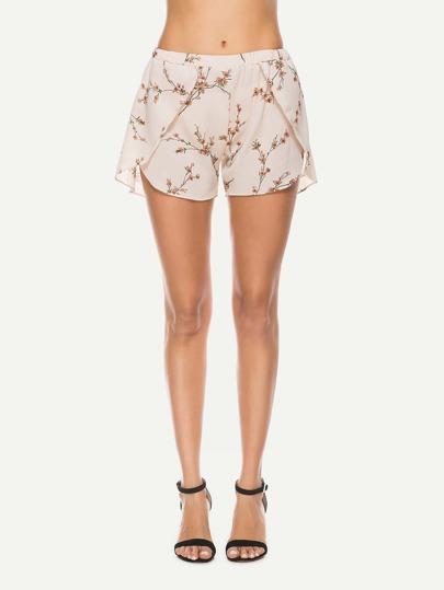 Shorts mit Calicomuster und Tulpe Saum