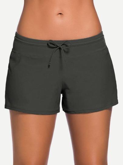 Side Slit Drawstring Swim Shorts