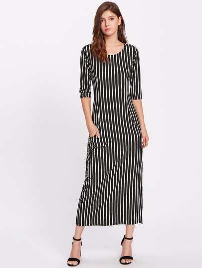 Vertical Striped Split Hem Dress