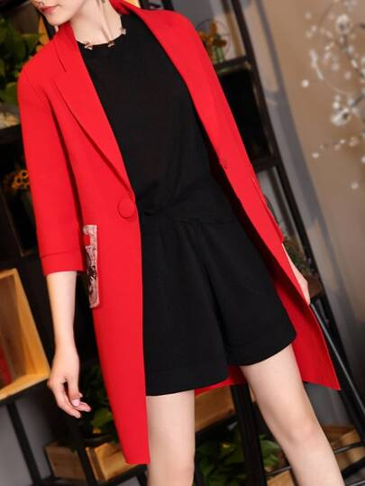 Deep V Neck Pockets Coat