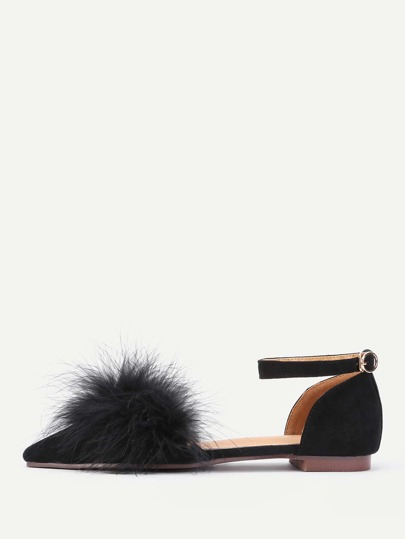 Faux Fur Decorated Ankle Strap Flats