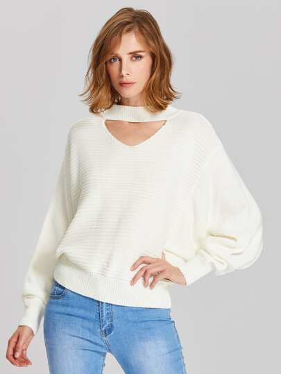 Cutout Dolman Sleeve Jumper