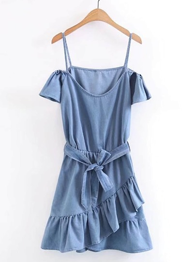 Cold Shoulder Ruffle Trim Denim Dress With Self Tie