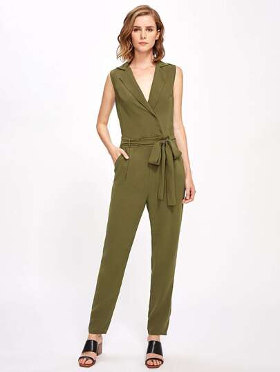 Notch Collar Surplice Self Tie Tailored Jumpsuit