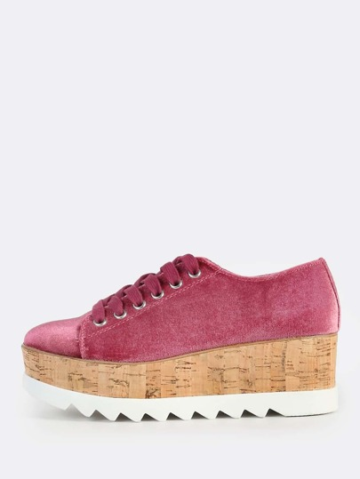 Velvet Lace Up Flatforms DARK MAUVE