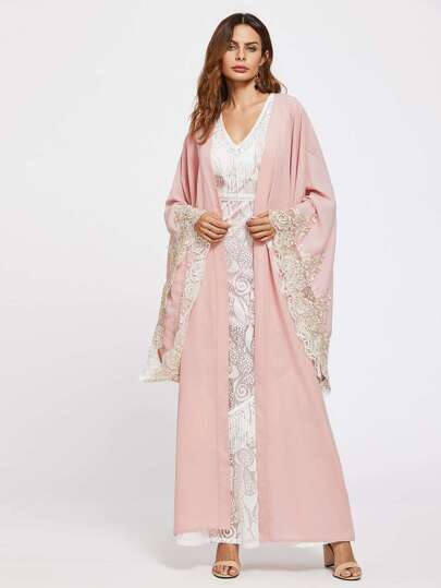 Lace Trim Exaggerate Sleeve Abaya