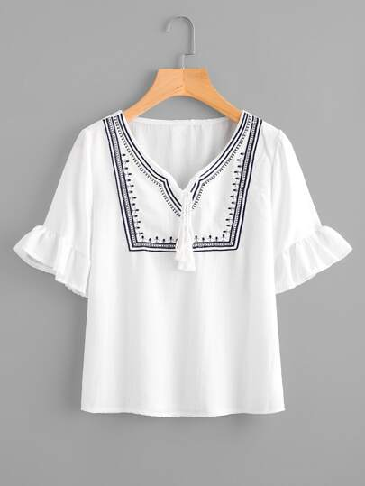 Tassel Tie Neck Frill Cuff Embroidery Blouse