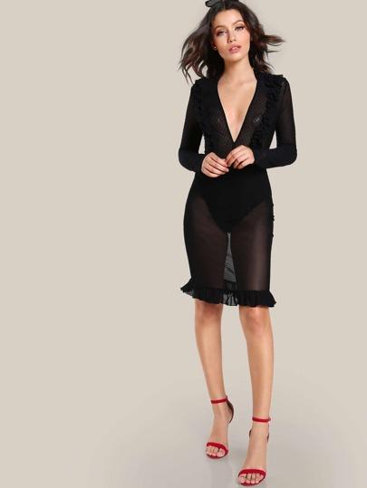Polka Dot Mesh Bodysuit Dress BLACK